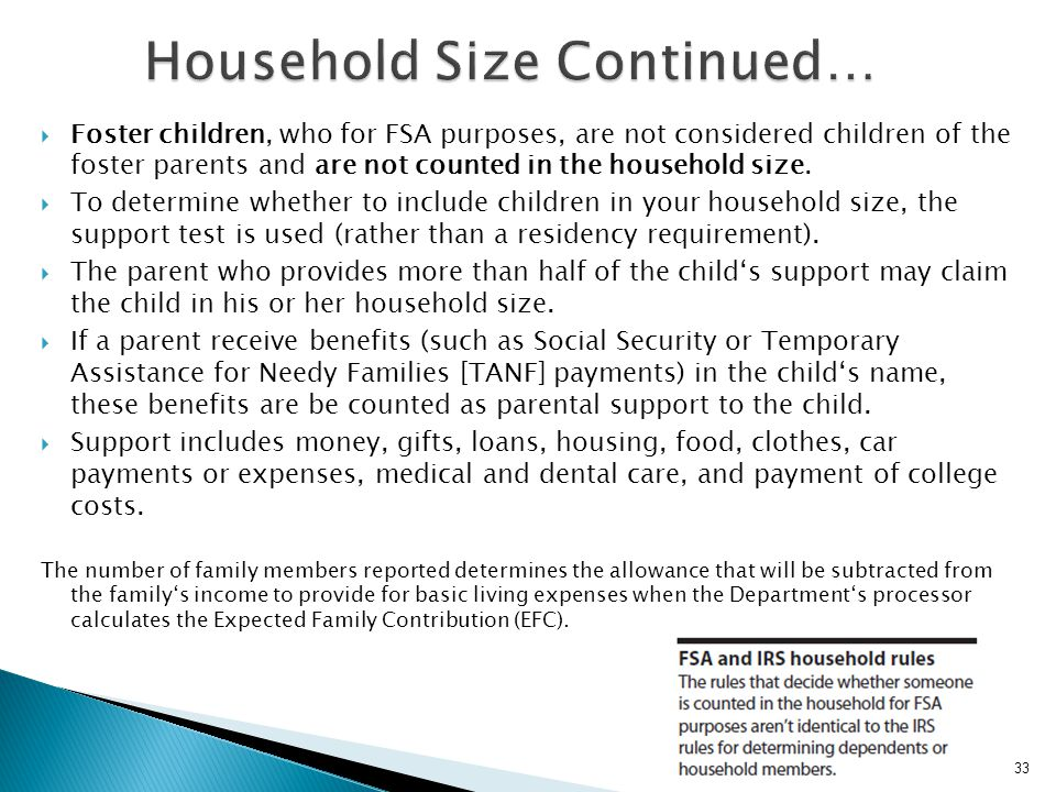 Household Size Continued…