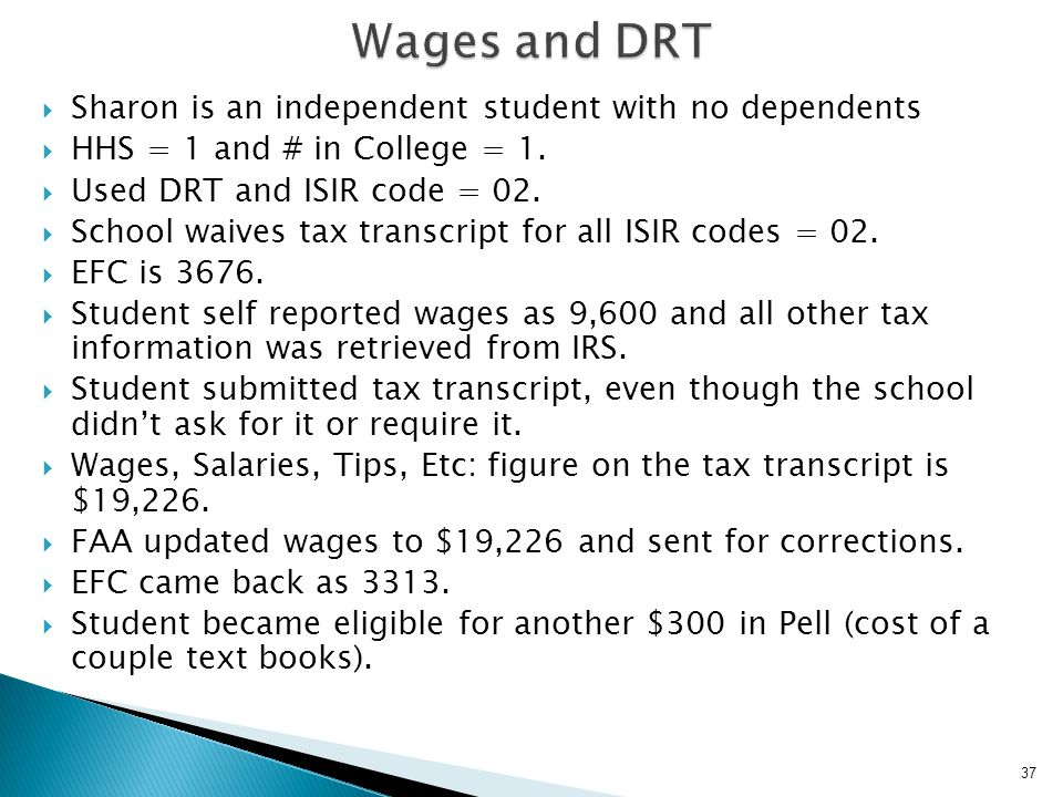 Wages and DRT Sharon is an independent student with no dependents