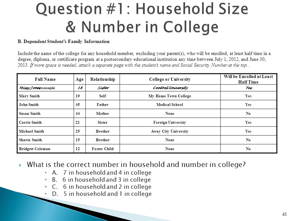 Question #1: Household Size & Number in College