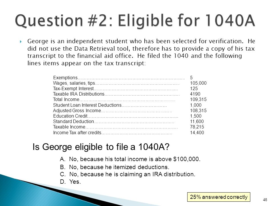 Question #2: Eligible for 1040A