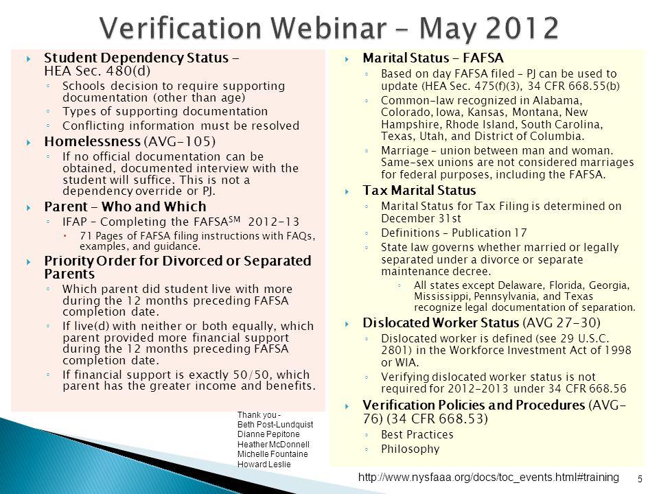 Verification Webinar – May 2012