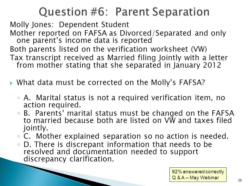 Dependent verification worksheet fafsa