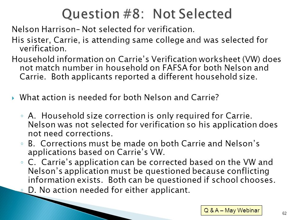Question #8: Not Selected