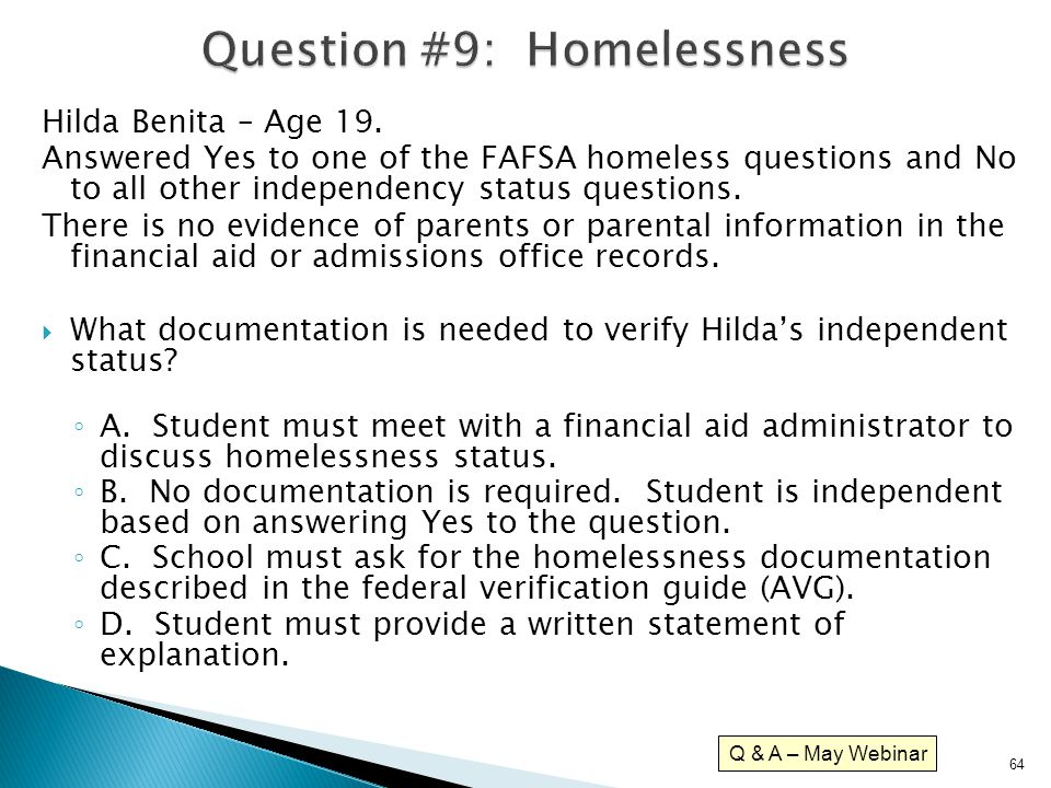 Question #9: Homelessness