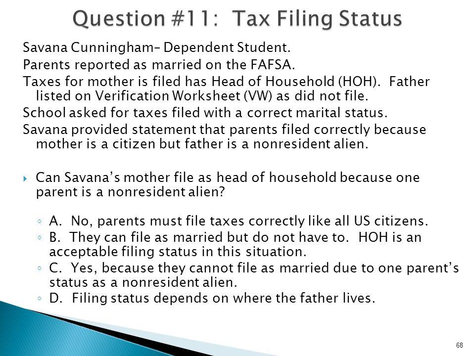 Question #11: Tax Filing Status