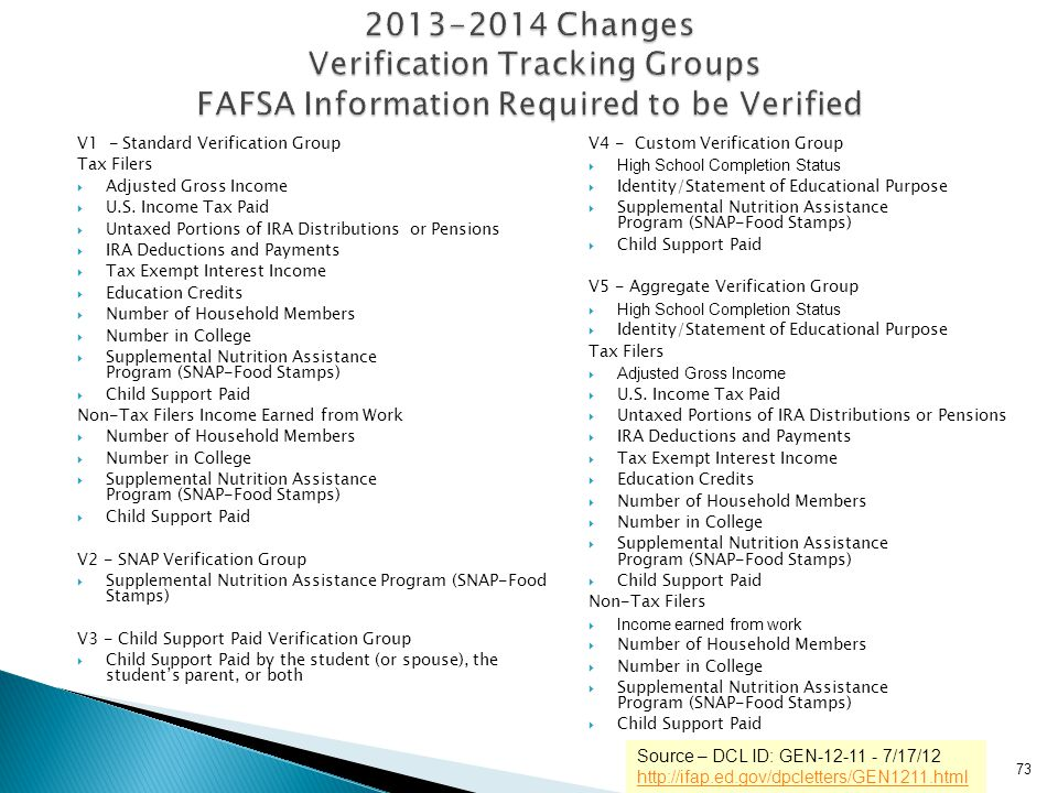 2013-2014 Changes Verification Tracking Groups FAFSA Information Required to be Verified
