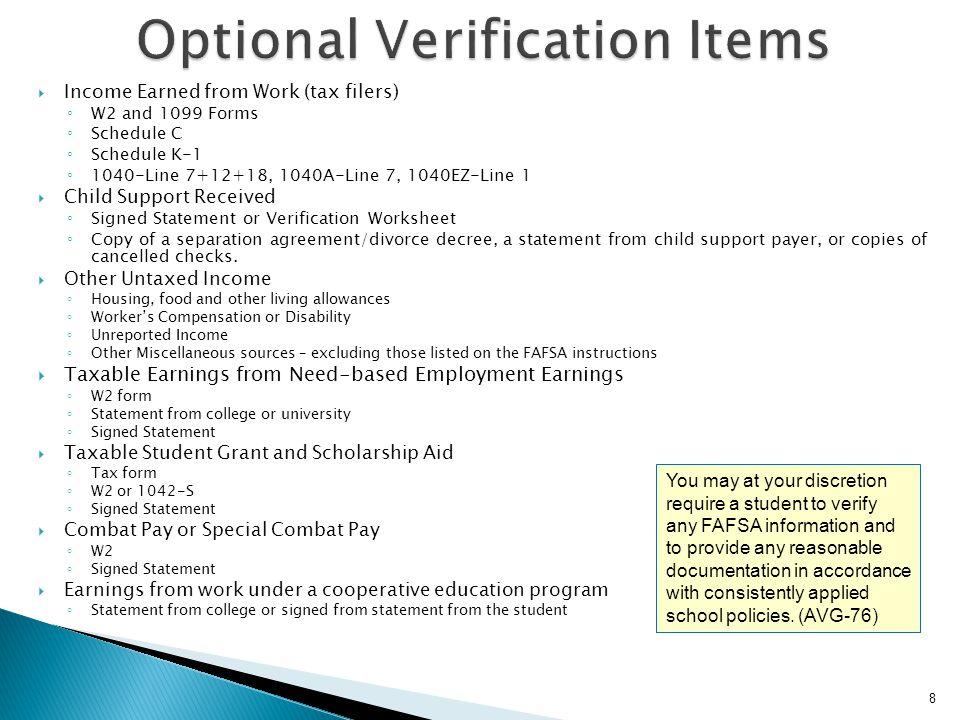 Optional Verification Items