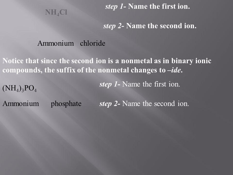 step 1- Name the first ion.