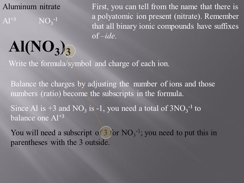 Al(NO3)3 Aluminum nitrate