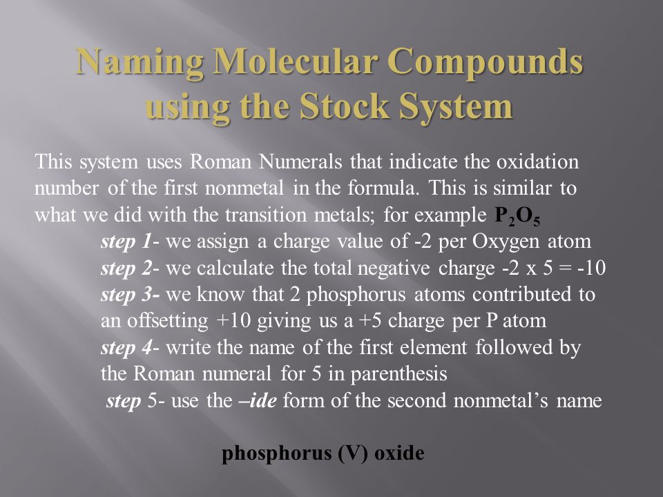 Naming Molecular Compounds using the Stock System
