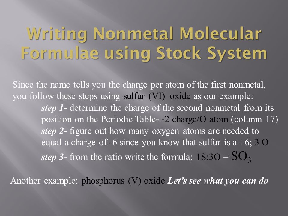 Writing Nonmetal Molecular Formulae using Stock System