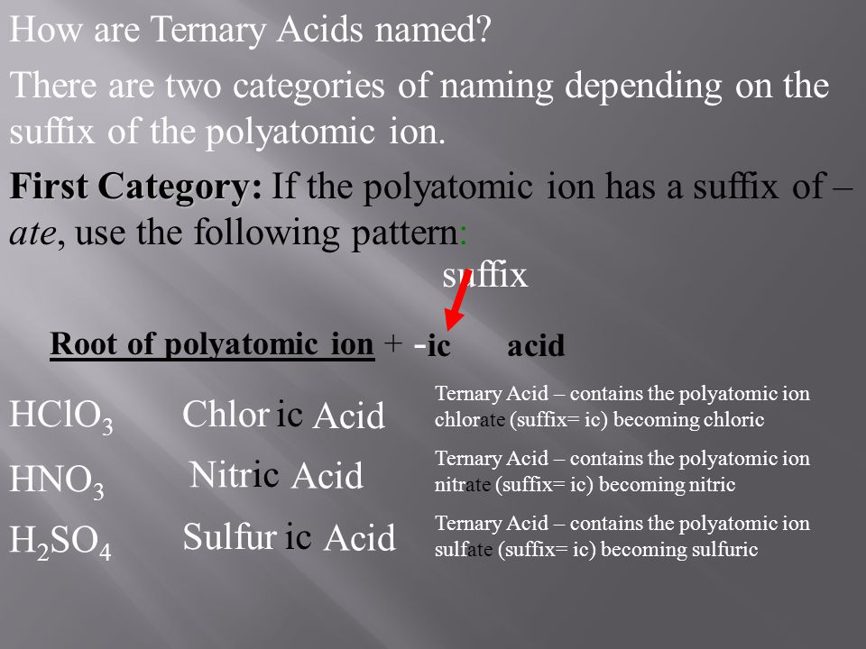 -ic acid How are Ternary Acids named