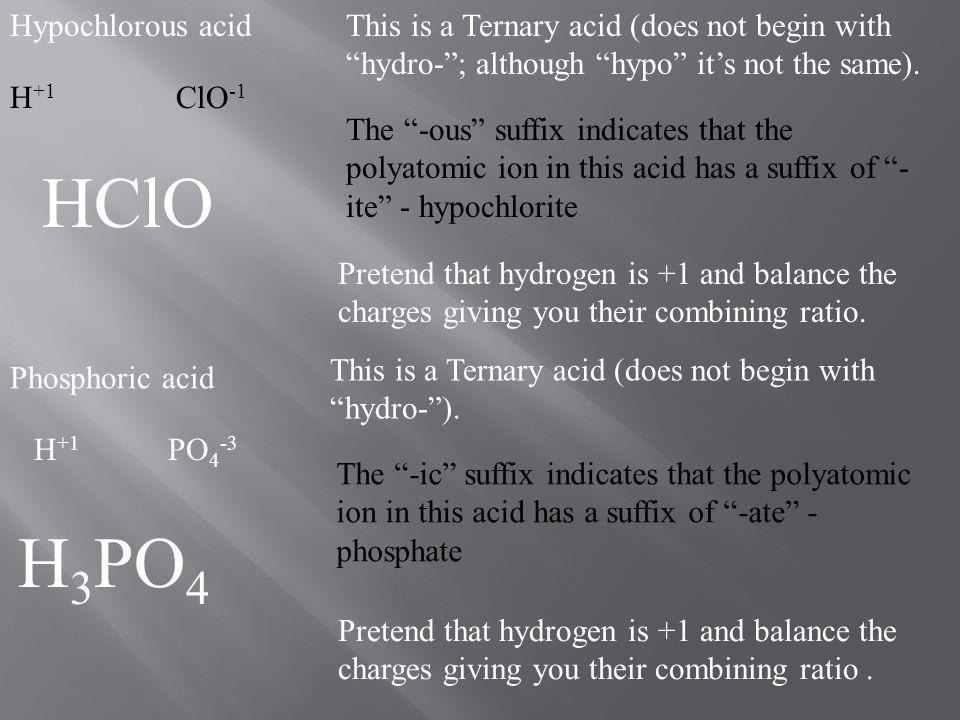 HClO H3PO4 Hypochlorous acid