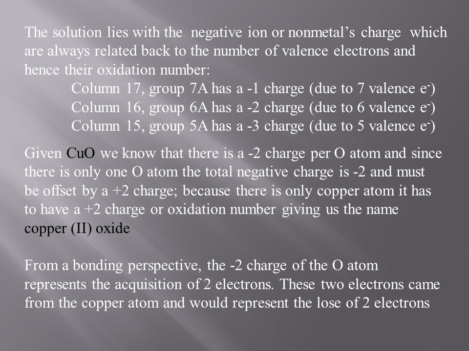 The solution lies with the negative ion or nonmetal's charge which are always related back to the number of valence electrons and hence their oxidation number: