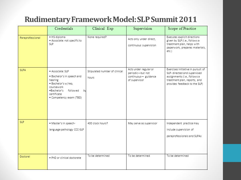 Rudimentary Framework Model: SLP Summit 2011