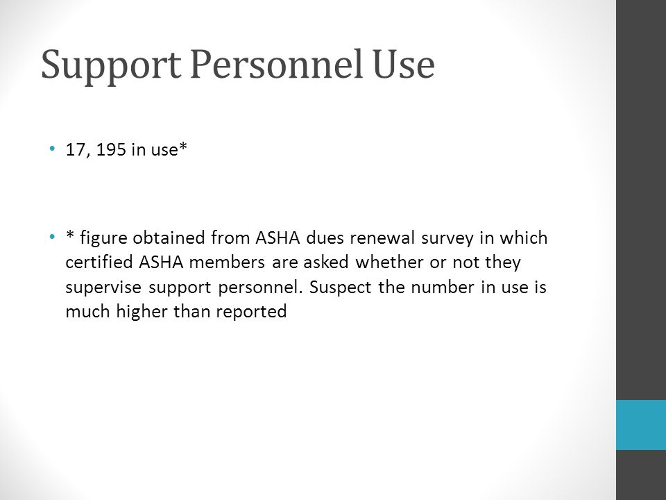Support Personnel Use 17, 195 in use*