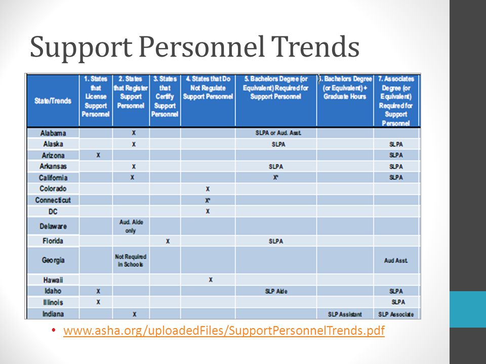 Support Personnel Trends