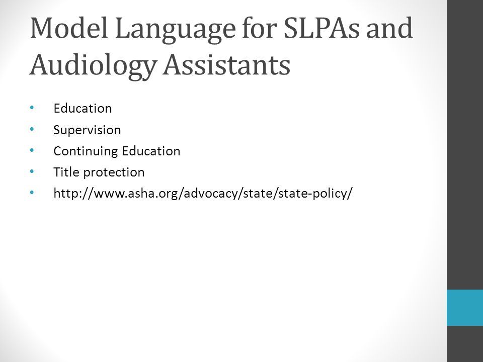 Model Language for SLPAs and Audiology Assistants