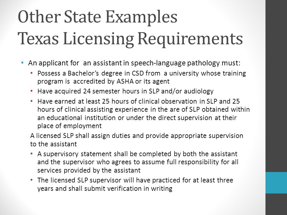Other State Examples Texas Licensing Requirements