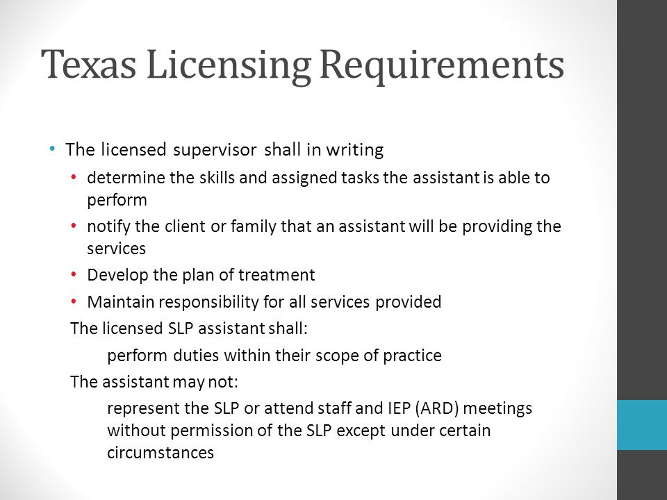 Texas Licensing Requirements