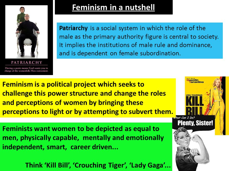 Feminism in a nutshell KEY TERMS: Patriarchal. Subordinate. Objectification. Empowered.