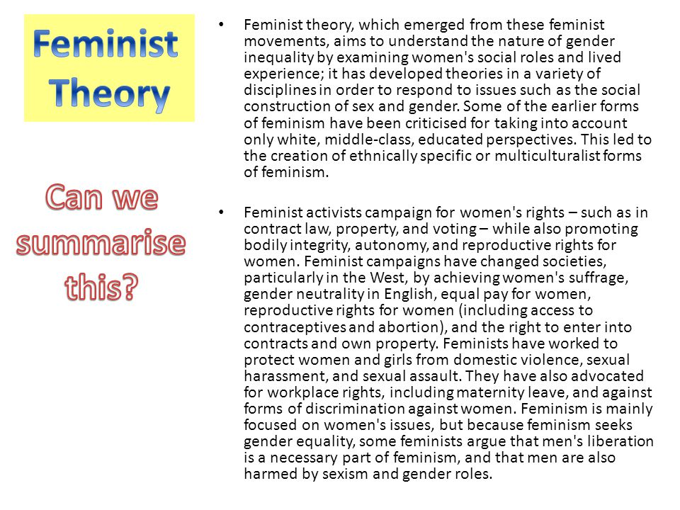 Feminist Theory Can we summarise this