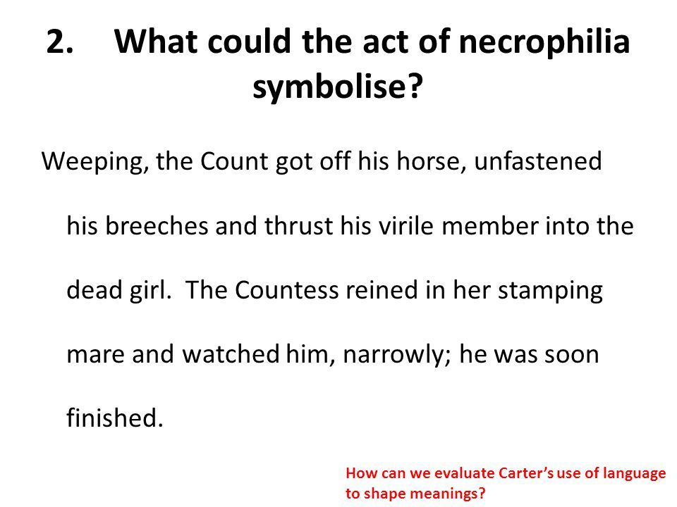 2. What could the act of necrophilia symbolise
