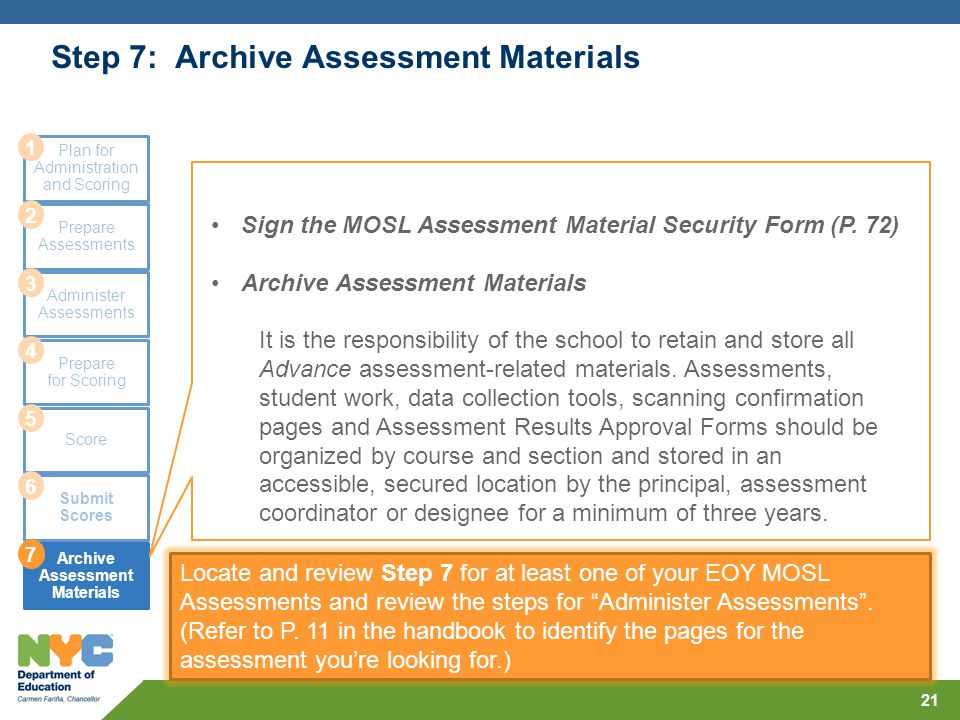 Step 7: Archive Assessment Materials