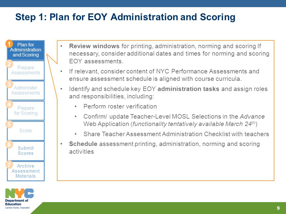 Step 1: Plan for EOY Administration and Scoring