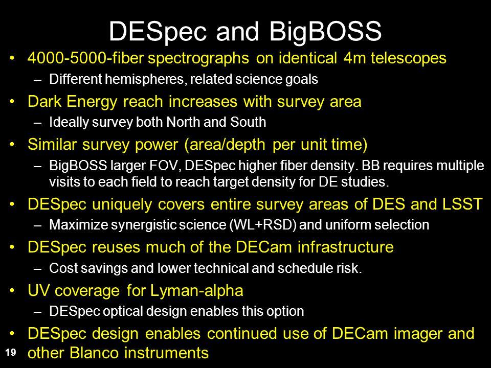 DESpec and BigBOSS 4000-5000-fiber spectrographs on identical 4m telescopes. Different hemispheres, related science goals.