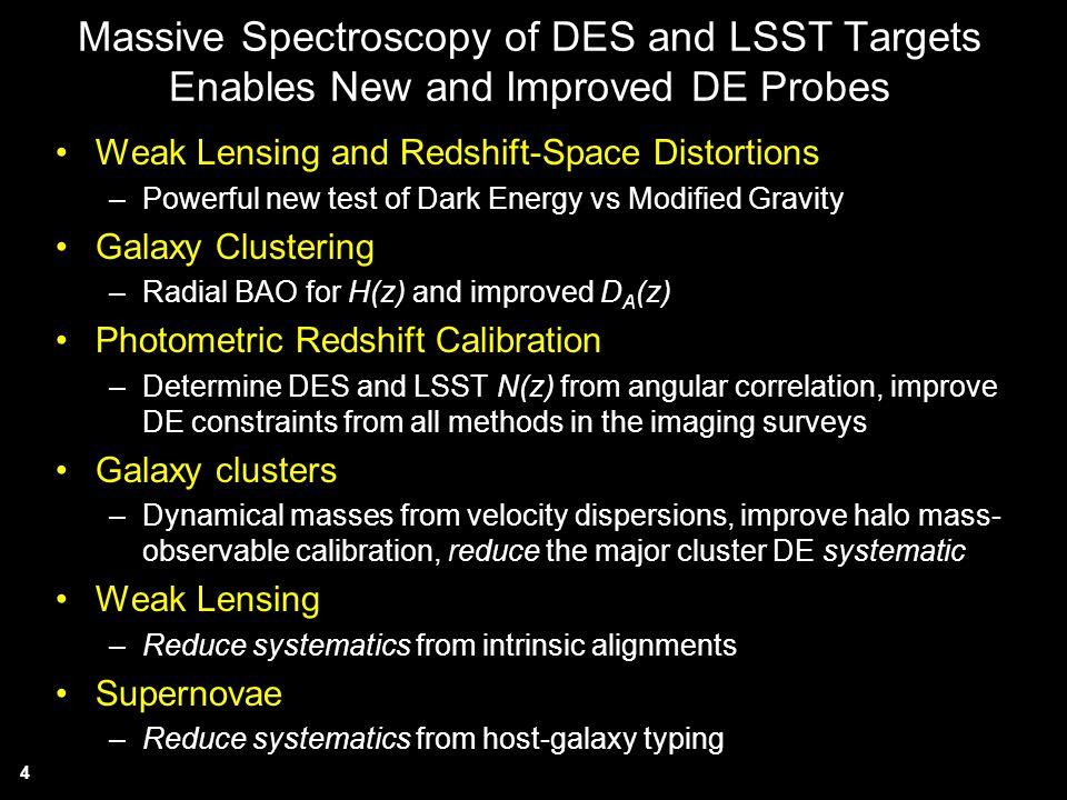 Massive Spectroscopy of DES and LSST Targets Enables New and Improved DE Probes
