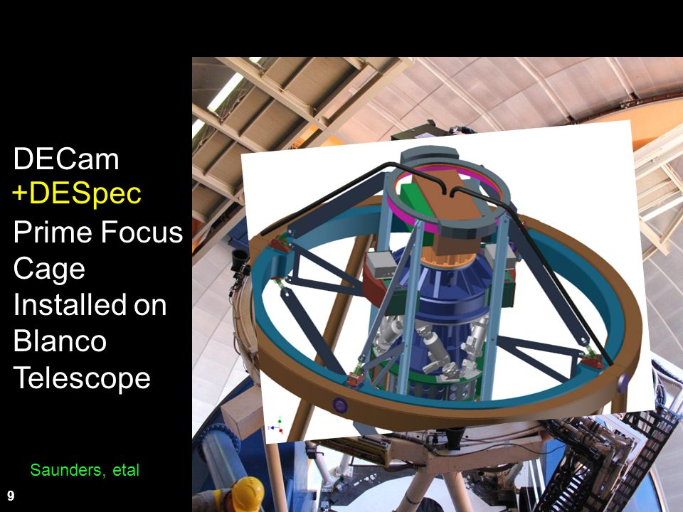 DECam +DESpec Prime Focus Cage Installed on Blanco Telescope