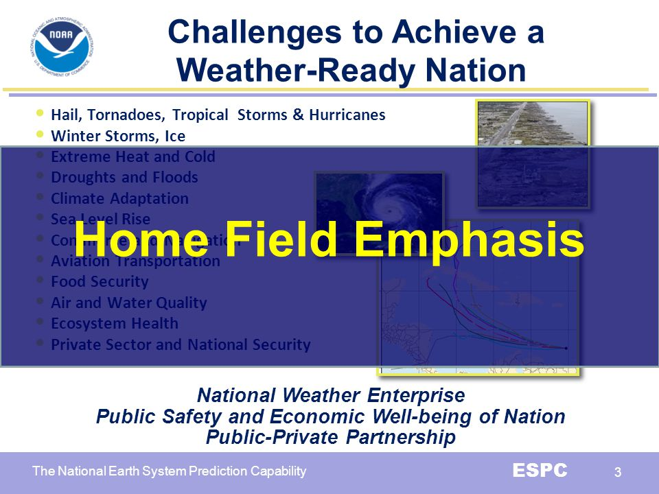 Home Field Emphasis Challenges to Achieve a Weather-Ready Nation