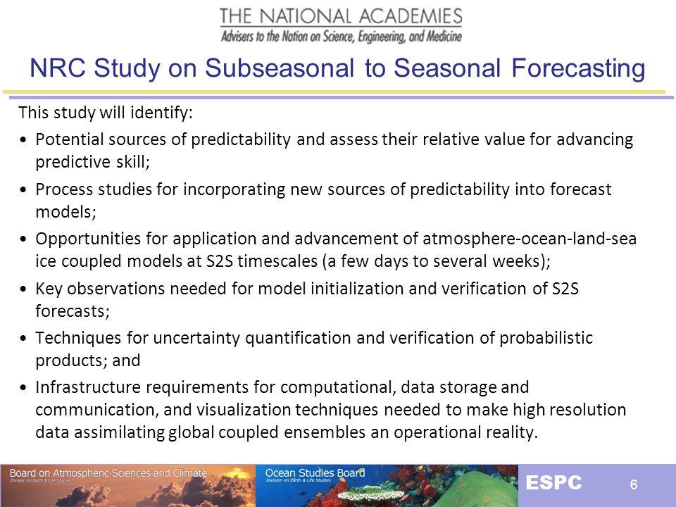 NRC Study on Subseasonal to Seasonal Forecasting