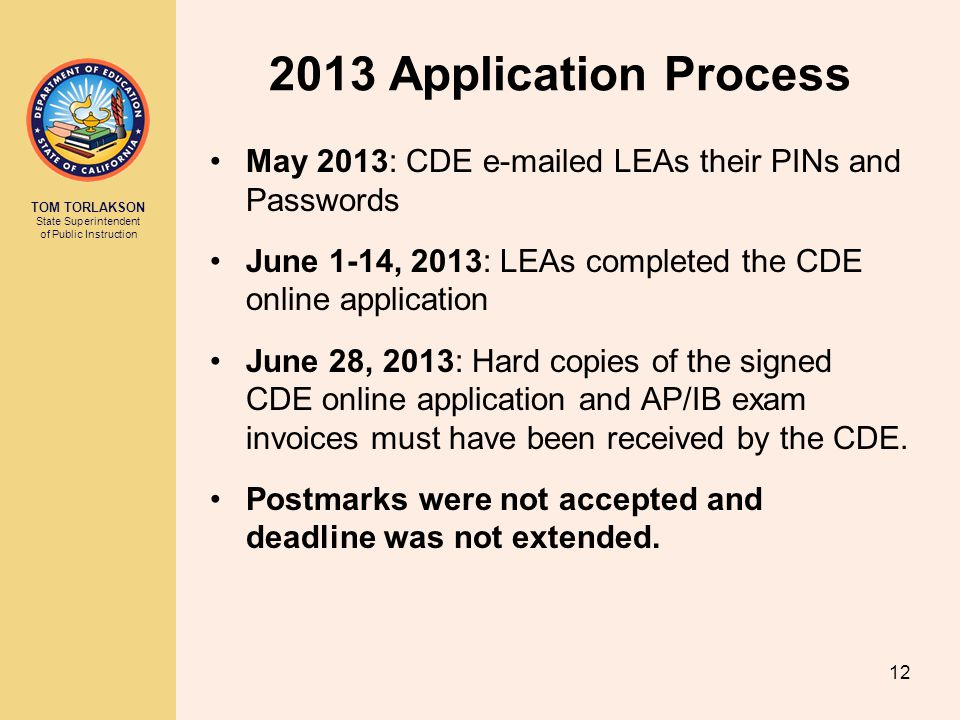 2013 Application Process May 2013: CDE e-mailed LEAs their PINs and Passwords. June 1-14, 2013: LEAs completed the CDE online application.