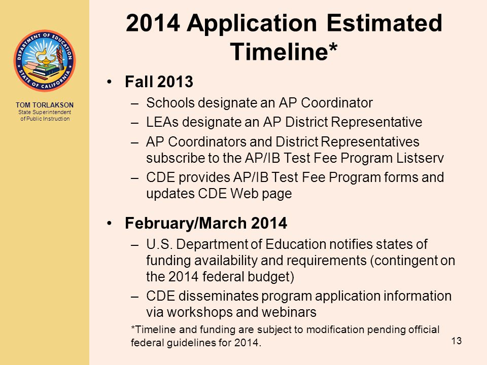 2014 Application Estimated Timeline*