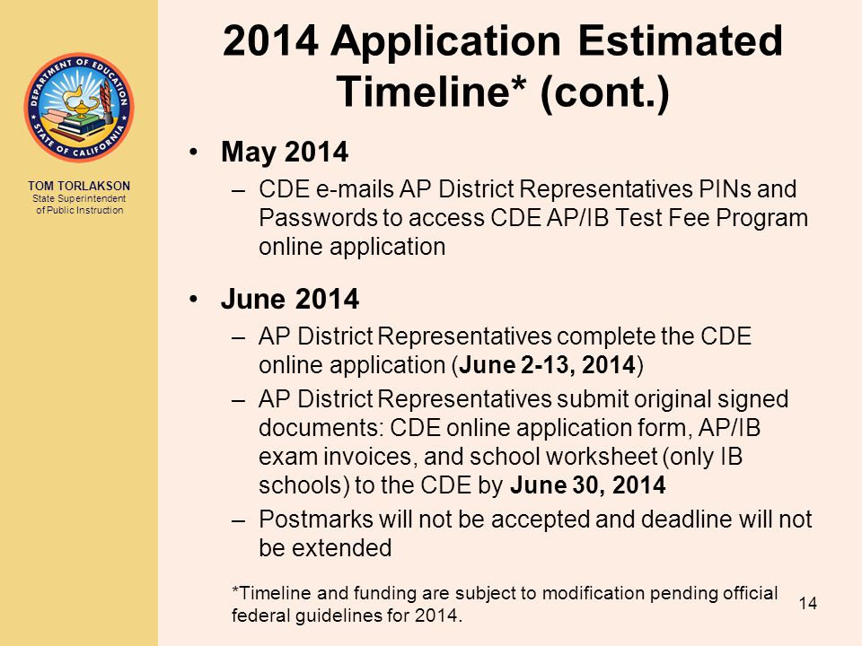 2014 Application Estimated Timeline* (cont.)