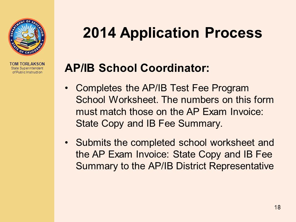 2014 Application Process AP/IB School Coordinator: