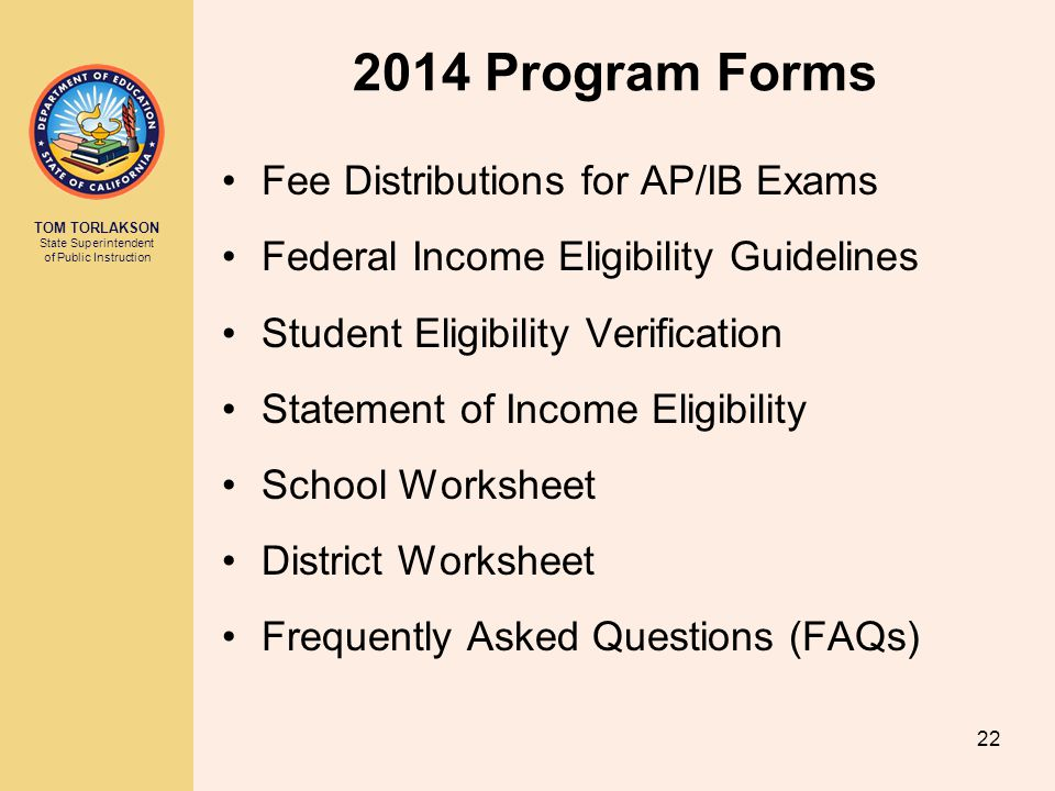 2014 Program Forms Fee Distributions for AP/IB Exams