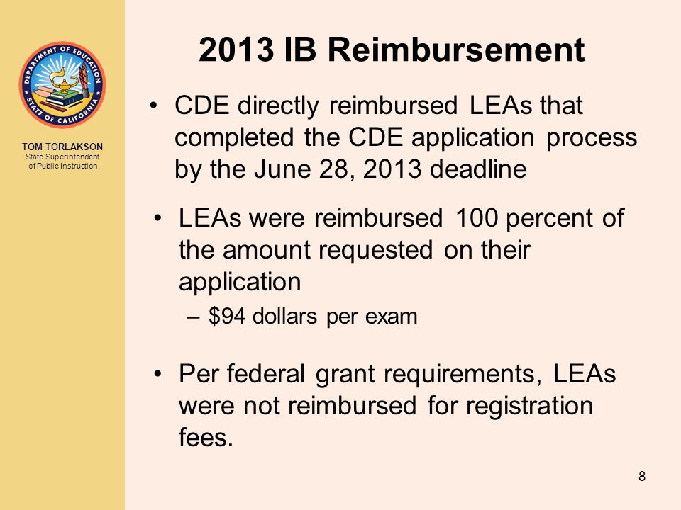 2013 IB Reimbursement CDE directly reimbursed LEAs that completed the CDE application process by the June 28, 2013 deadline.