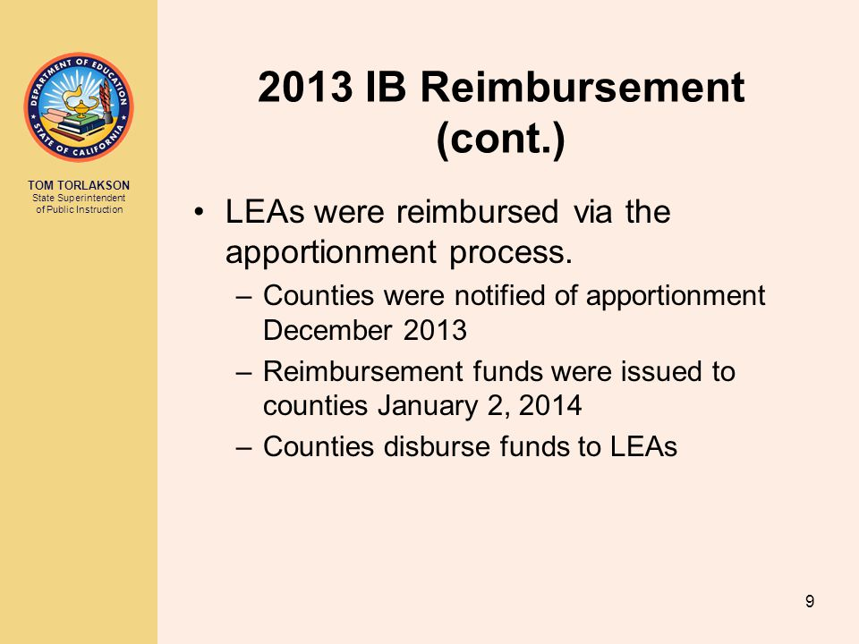 2013 IB Reimbursement (cont.)