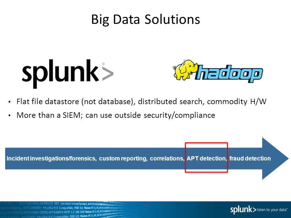 Big Data Solutions Flat file datastore (not database), distributed search, commodity H/W. More than a SIEM; can use outside security/compliance.