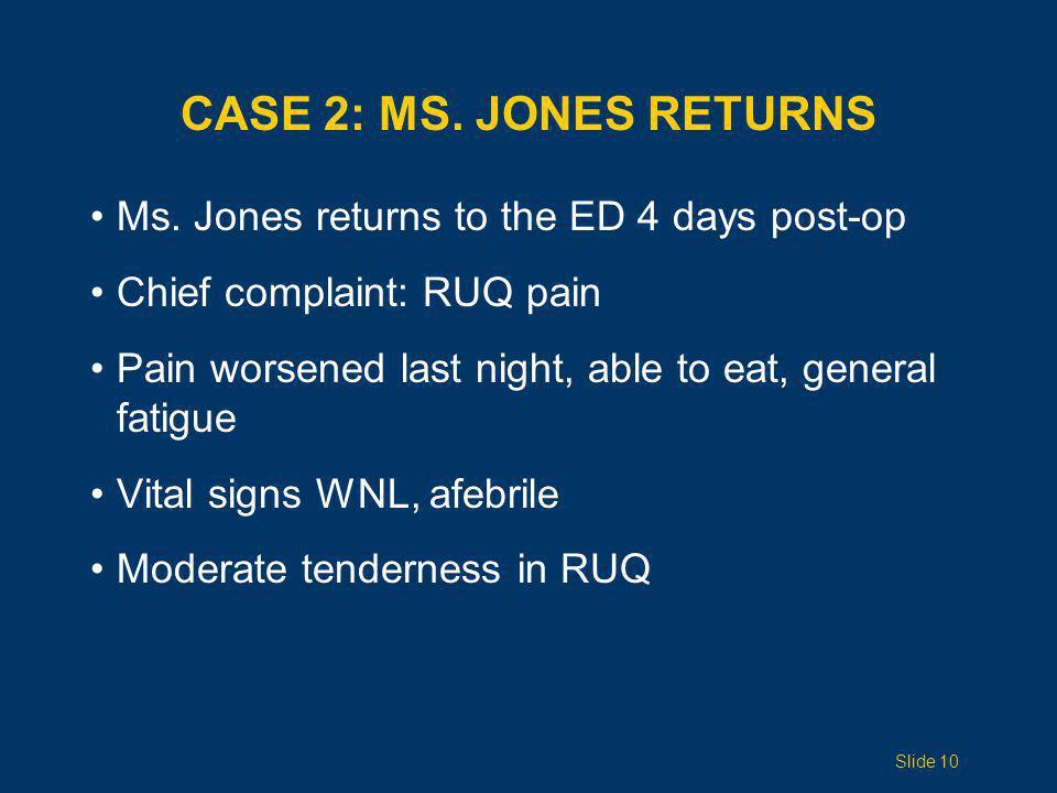 Case 2: Ms. Jones Returns Ms. Jones returns to the ED 4 days post-op