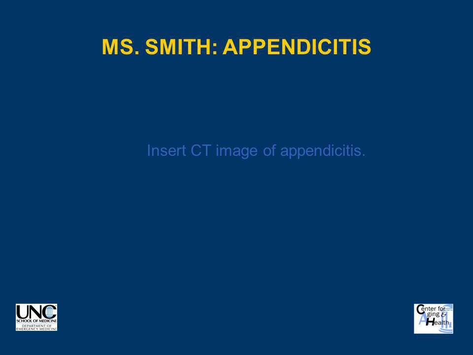 Ms. Smith: Appendicitis
