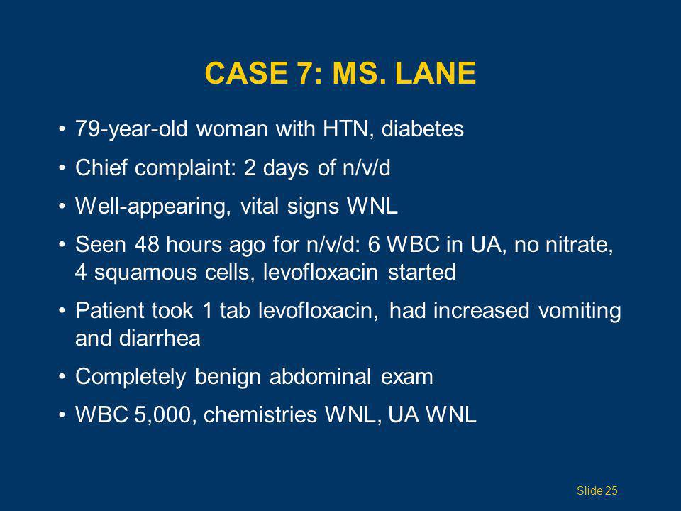 Case 7: Ms. Lane 79-year-old woman with HTN, diabetes