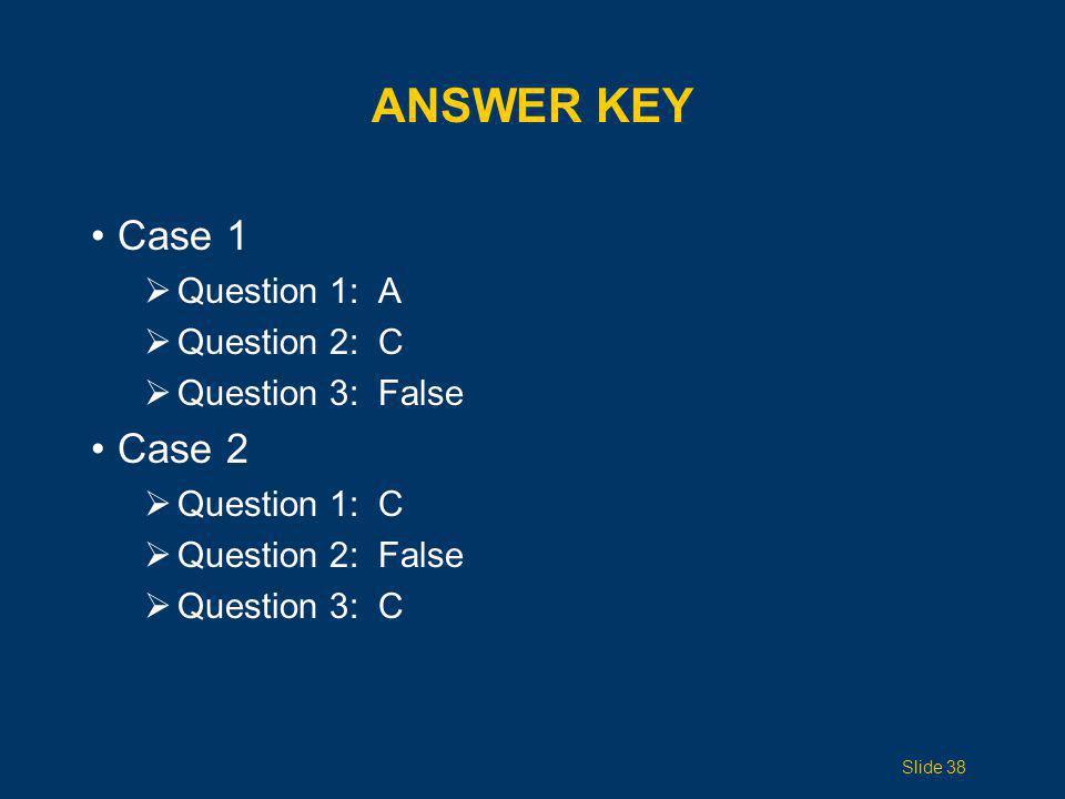 Answer Key Case 1 Case 2 Question 1: A Question 2: C Question 3: False
