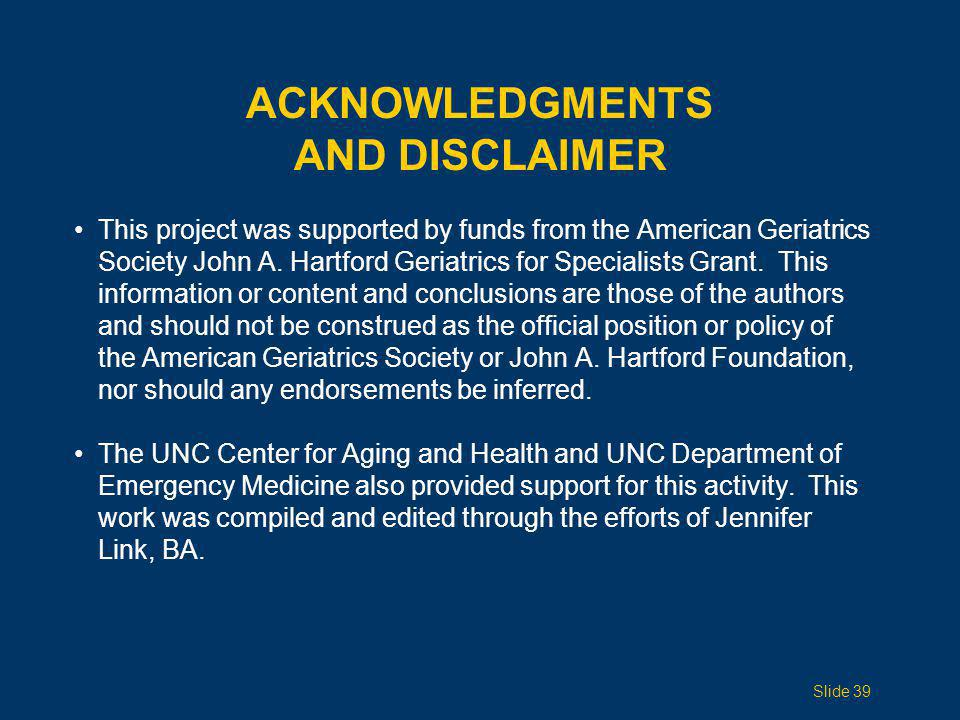 Acknowledgments and Disclaimer