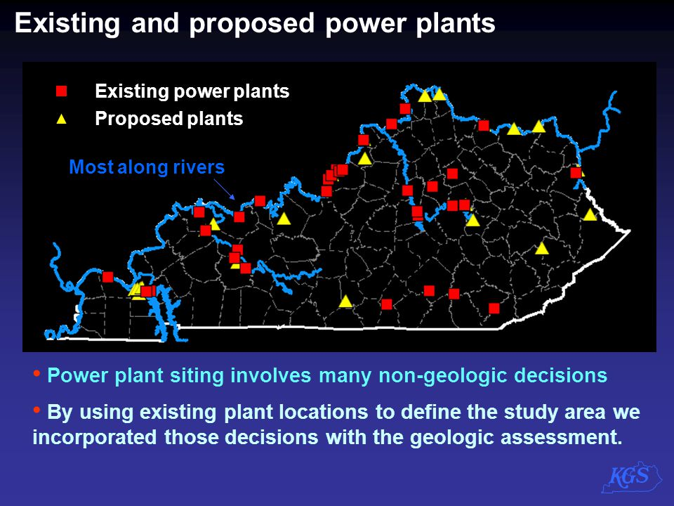 Existing and proposed power plants
