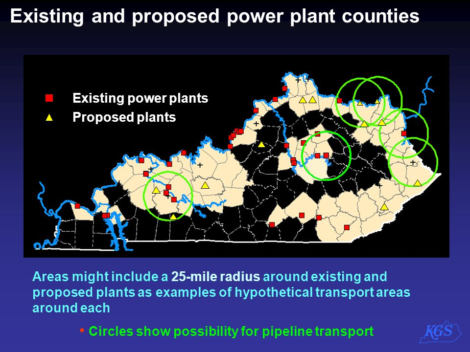 Existing and proposed power plant counties
