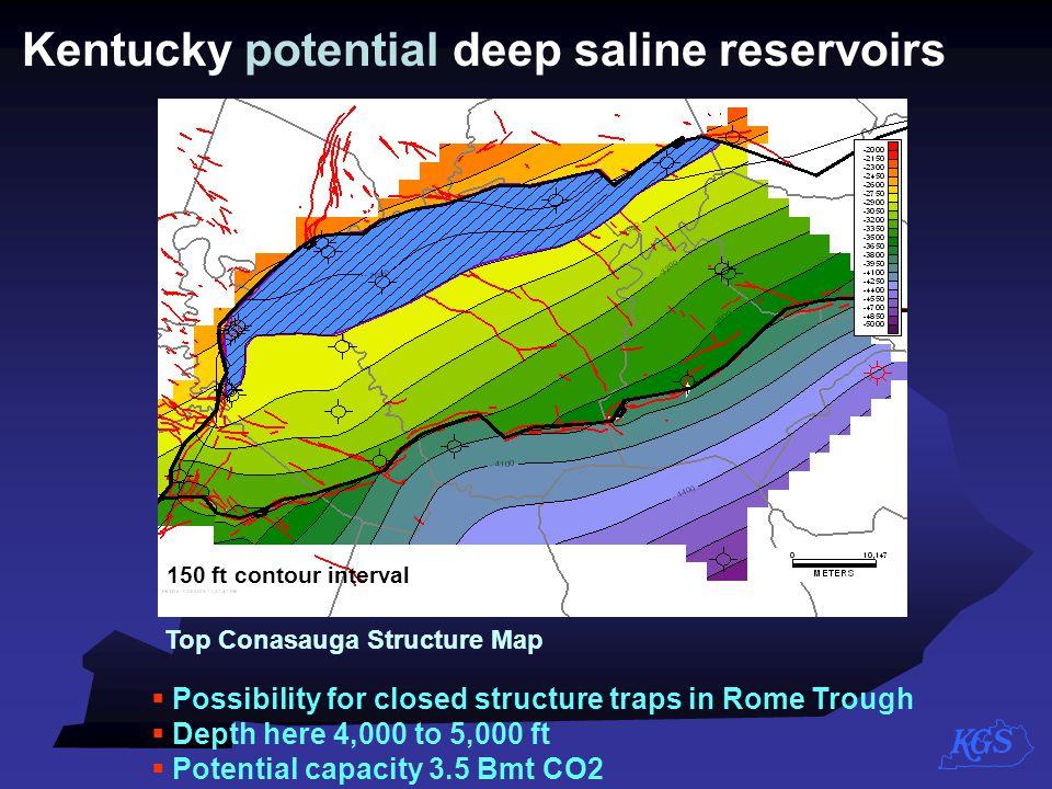 Kentucky potential deep saline reservoirs